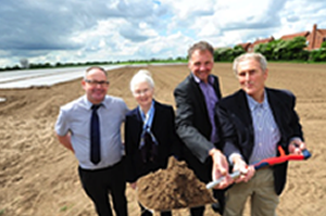 Breaking ground with representatives from the CLT, South Holland Council, Lincs Rural and Westleigh