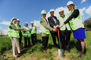 Members of Wilsford CLT and North Kesteven Council breaking ground